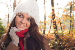 Brunette with a winter cap stock photos