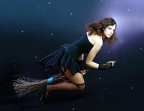 Brunette witch flying on broom Royalty Free Stock Photos