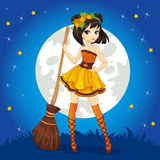 Brunette Witch On Halloween Sky Royalty Free Stock Photo