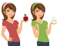 Brunette woman with apple or cupcake Royalty Free Stock Image