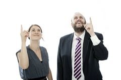 Brunette woman and beard business man show up Royalty Free Stock Image