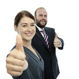 Brunette woman and beard business man thumb up Stock Photography
