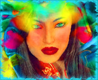 Brunette woman in a beautiful abstract digital art style. Stock Image