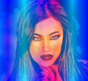 Brunette woman in a beautiful abstract digital art style. Abstract digital art of Indian or Asian woman's face, close up with colorful make up. An oil paint Stock Image