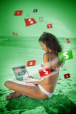 Brunette woman in bikini gambling online in green light Royalty Free Stock Photos