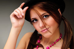 Brunette woman in black dress Royalty Free Stock Photo