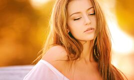 Brunette Woman Blonde Long Hair in White Off Shoulder Sleeve at Daytime Royalty Free Stock Photos