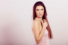 Brunette woman in bright dress Royalty Free Stock Images