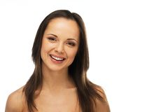 Brunette woman with brown eyes Royalty Free Stock Image