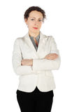 Brunette woman in business dress, standing Stock Photos