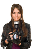 Brunette woman with the camera Stock Image