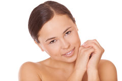 Brunette woman with clean skin Royalty Free Stock Photography