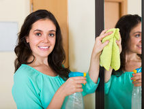 Brunette woman cleaning mirror Stock Photography