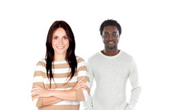 Brunette woman in close-up and handsome African man in the backg royalty free stock images