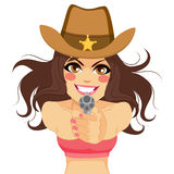 Brunette Woman Cowgirl Shooting Gun. Young brunette woman cowgirl gunslinger shooting gun with both hands Royalty Free Stock Photos