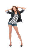 Brunette woman dancing in casual cloth Stock Image