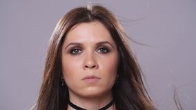 Brunette woman with dark makeup stock video