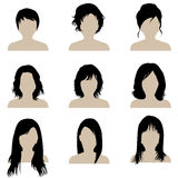 Brunette woman with different types of hairstyle. Collection of a brunette woman with different types of hairstyle Stock Photography