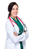 Brunette woman doctor armed cross Stock Image