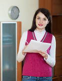 Brunette woman with  documents Stock Photography