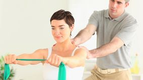 Brunette Woman doing special exercises Royalty Free Stock Photo