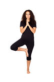 Brunette Woman Doing Yoga Exercises Stock Photo