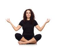 Brunette Woman Doing Yoga Exercises Royalty Free Stock Images