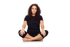 Brunette Woman Doing Yoga Exercises. On White Royalty Free Stock Image