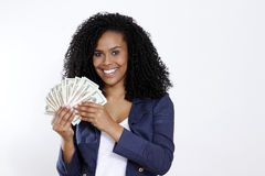 Brunette woman with dollar Stock Images