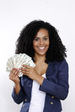 Brunette woman with dollar Royalty Free Stock Images