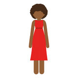 Brunette woman with dress and curly hair. Illustration Royalty Free Stock Image