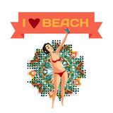 Brunette woman dressed in red swimsuit is standing Royalty Free Stock Photos