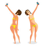 Brunette woman dressed in yellow swimsuit is standing Stock Images