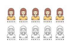 Brunette woman emoji vector set. Simple outline design. Brunette woman emoji vector set. Clean and simple outline design Royalty Free Stock Image