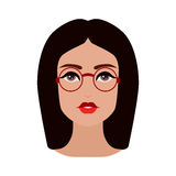 Brunette woman face with glasses stock illustration