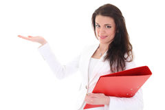 Brunette woman with folder showing something Royalty Free Stock Photography