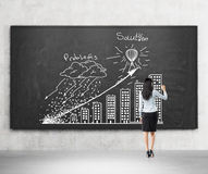 A brunette woman in formal clothes is drawing a graph ' Problems and solution ' on the black chalkboard. Rear view of the mo Royalty Free Stock Photography