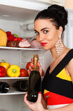 Brunette woman and a fridge Royalty Free Stock Photography