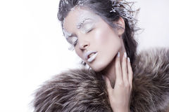 Brunette woman in fur with creative make up in winter style with Royalty Free Stock Photo