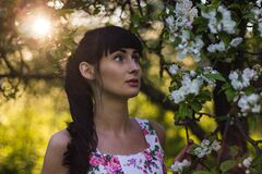 Brunette woman in garden Royalty Free Stock Photos