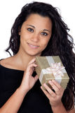 Brunette woman with a gift Stock Images
