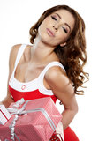 Brunette woman with a gift boxes Stock Photography