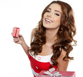 Brunette woman with a gift boxes Stock Image