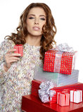 brunette woman with a gift boxes Stock Photos