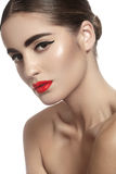 Brunette woman with glamour red lips make-up, clean skin Royalty Free Stock Photography