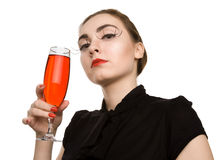 Brunette woman with glass of wine Royalty Free Stock Photo