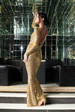 Brunette woman in gold dress Royalty Free Stock Image