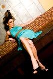 Brunette Woman Hair Style Model stock image