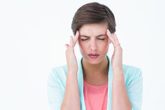 Brunette woman with head ache Royalty Free Stock Images