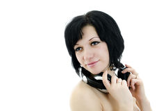 Brunette woman with headphones Royalty Free Stock Photos
